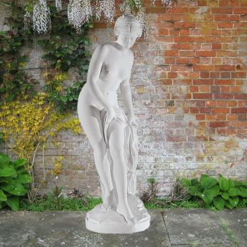 Bathing Goddess 120cm Roman Garden Sculpture - Large Marble Statue