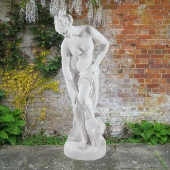 Bathing Lady 116cm Greek Garden Sculpture - Large Marble Statue