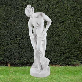 Bathing Lady 88cm Greek Garden Sculpture - Large Marble Statue