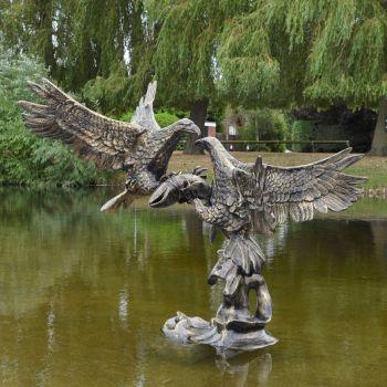 Battle of Eagles Bronze Metal Garden Statue