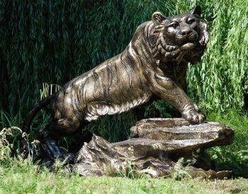Bengal Tiger Life-Size Bronze Metal Garden Statue
