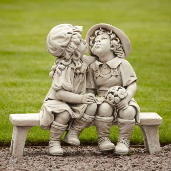 Boy & Girl Stone Figurine Ornament - Large Garden Statue