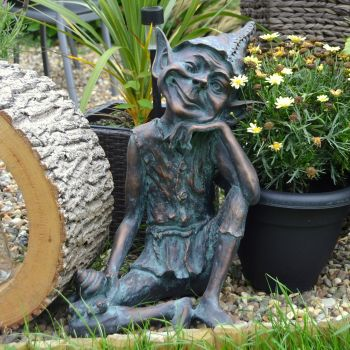 Contemplating Pixie Bronze Statue Garden Ornament