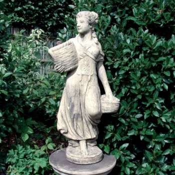 Country Girl Stone Sculpture (Medium) - Garden Statue