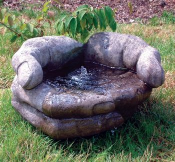 Cupped Hands Stone Fountain - Garden Water Feature
