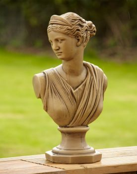 Diana Roman Head Stone Bust Statue - Large Garden Ornament