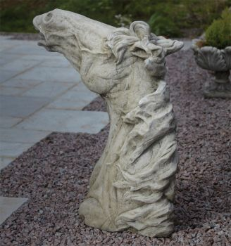 Epona Horses Head Stone Statue - Large Garden Ornament
