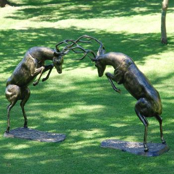 Extra Large Battling Stags Deers Bronze Metal Garden Statues