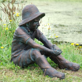 Farmer Boy Bronze Statue Garden Ornament