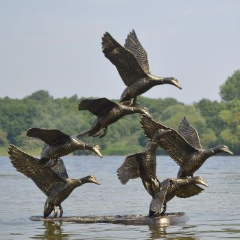 Flight of Ducks Life-Size Bronze Metal Garden Statue