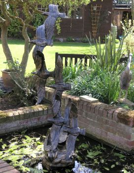Flight of Seagulls Bronze Metal Garden Statue