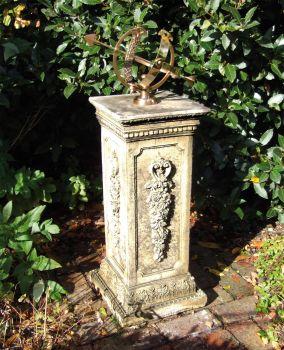 Floral Armillary Stone Sun Dial - Garden Sundial
