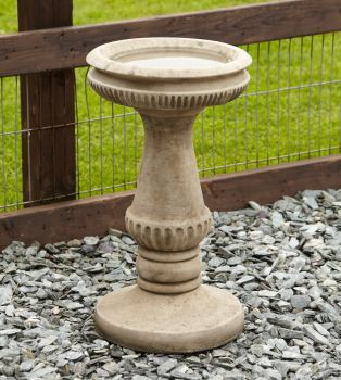 Fluted Design Stone Birdbath - Garden Bird Bath Feeder