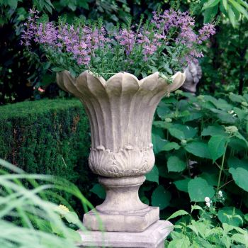 Fluted Stone Vase Plant Pot - Large Garden Planter