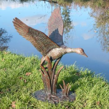 Flying Duck Bronze Metal Garden Ornament