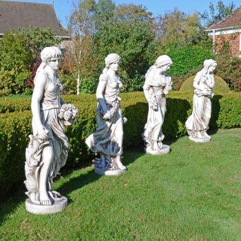 Four Seasons Maiden Collection 119cm Antique Stone Garden Statues