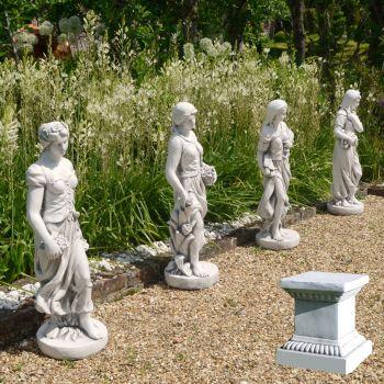 Four Seasons Maidens 120cm White Stone Garden Statues & Pedestals