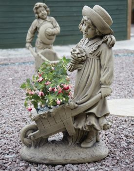 Girl & Barrow Stone Sculpture - Large Garden Statue