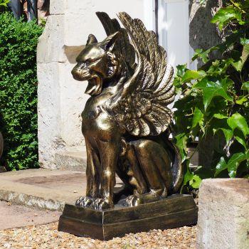 Gothic Griffin Bronze Metal Garden Statue