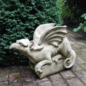 Gothic Griffin Stone Sculpture - Large Garden Statue