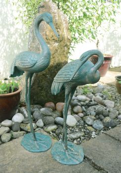 Grand Cranes Bronze Metal Garden Ornaments