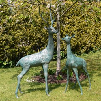 Grand Deer Antique Bronze Statues - Metal Garden Ornaments