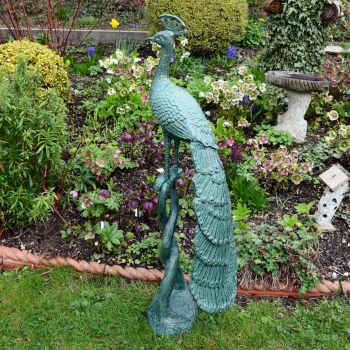 Grand Peacock Bronze Metal Garden Ornament