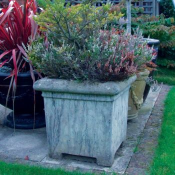 Grand Square Stone Plant Pot - Large Garden Planter