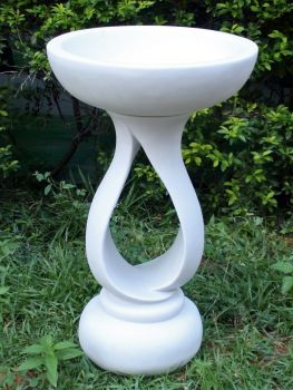 Grasmere Marble Resin Contemporary Garden Bird Bath