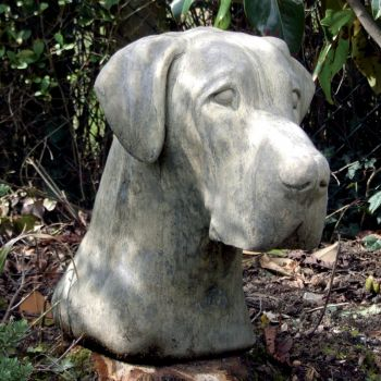 Great Dane Dog Head Sculpture - Large Garden Statue