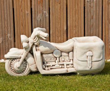 Harley Davidson Stone Motorbike Planter - Large Garden Ornament