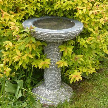 Highland Black Marble Stone Birdbath - Garden Bird Bath