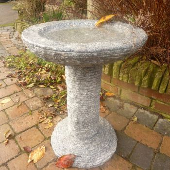 Highland Natural Granite Stone Birdbath - Garden Bird Bath Feeder
