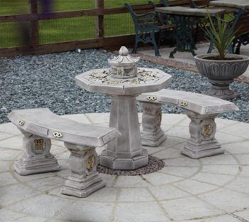 Japanese Stone Benches & Table Patio Set - Garden Furniture