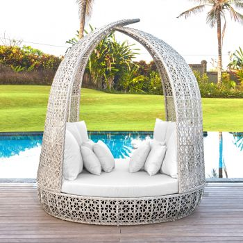 Journey Round Rattan Daybed Sofa Garden Furniture