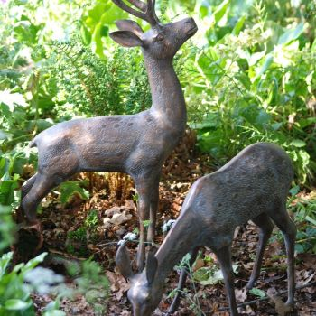 Large Deer Stag Bronze Sculpture - Garden Ornament