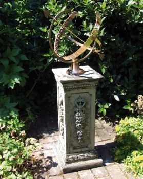 Large Floral Armillary Stone Sun Dial - Garden Sundial
