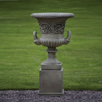 Large Garden Planter - Grecian Stone Urn on Plinth