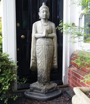 Large Garden Sculpture - Upright Stone Buddha Statue