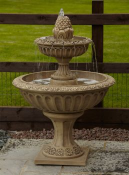 Large Pineapple Two Tier Stone Fountain - Garden Water Feature