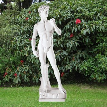 Michelangelo David 65cm Garden Sculpture - Large Marble Statue
