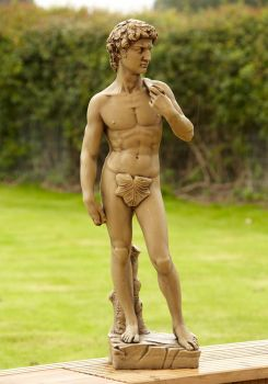 Michelangelo David Stone Figurine Sculpture - Garden Statue