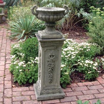 Modena 29 Stone Vase Plant Pot on Plinth - Large Garden Planter