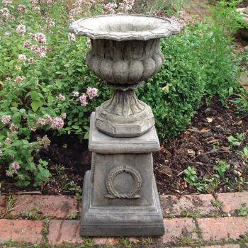 Modena 31 Stone Vase Plant Pot on Plinth - Large Garden Planter