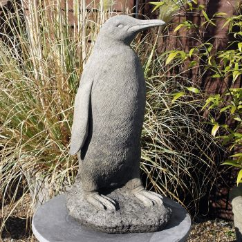 Monty The Penguin Grey Stone Statue - Garden Ornament