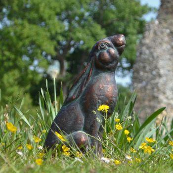 Moon Gazing Hare Bronze Metal Garden Ornament