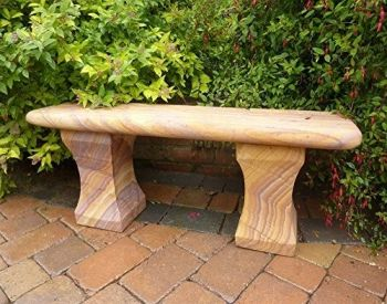 Mulsanne Polished Rainbow Sandstone Stone Bench - Large Garden Benches