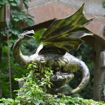 Mystical Dragon 100cm Bronze Metal Garden Statue