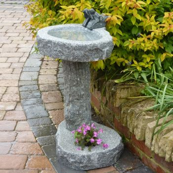 Natural Granite Stone Planter Birdbath - Garden Bird Bath