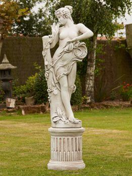 Nude Aimee Stone Sculpture & Pedestal - Large Garden Statue